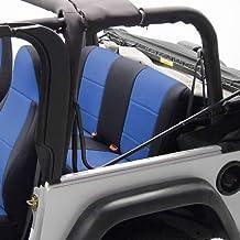 Coverking Custom Fit Seat Cover for Jeep Wrangler JK 4-Door - (Neoprene, Black/Blue)