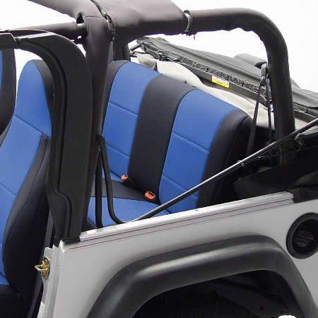 Coverking Custom Fit Seat Cover for Jeep Wrangler YJ 2-Door - (Neoprene, Black/Blue)