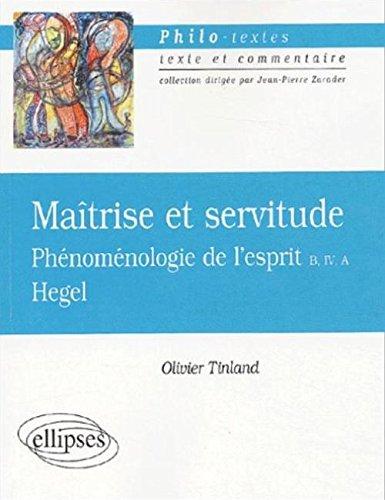Et Hegel Servitude L'esprit Phénoménologie De Maîtrise aC45q
