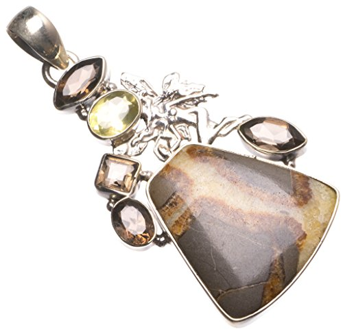 Natural Dragon Septarian,Smoky Quartz and Citrine Indian 925 Sterling Silver Pendant 2.5