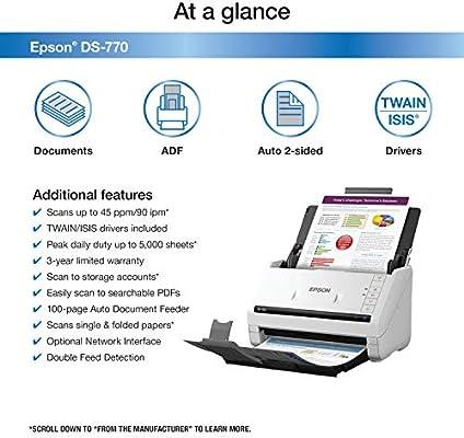 Amazon com: Epson DS-770 Document Scanner: 45 ppm, Twain
