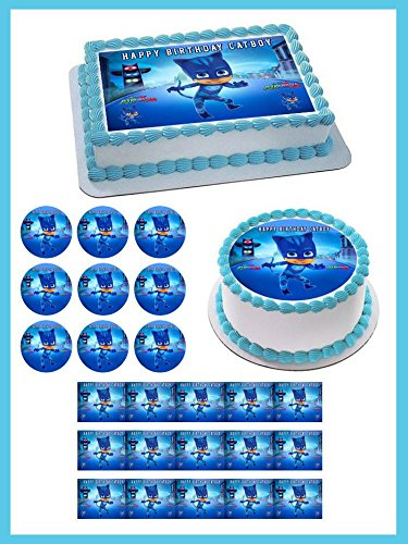 PJ Masks Cat Boy Edible Cake Topper & Cupcake Toppers - 2 cupcake (12