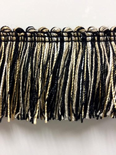 "1.75"" Extra Thick Brush Fringe Trim BRF-3/47-4 Black Beige & Cream (Sold by The Yard)"