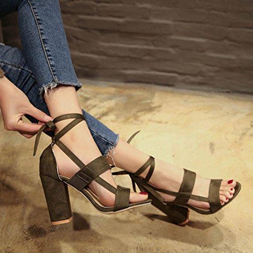 Heels Damen Sandalen Schuhe Mode Grün Damen Party Sandalen hunpta Offene Knöchel High Block spitze Cwf0qqa