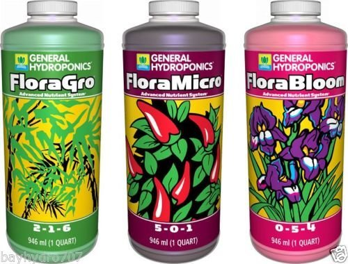 General Hydroponics GH Flora Series 16oz Pints TRIO FloraMicro FloraGrow FloraBloom