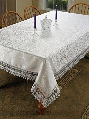 "HomeCrate Flower Bow Vintage Lace Design Table Cloths, 54"" X 72"", Rectangular, White"