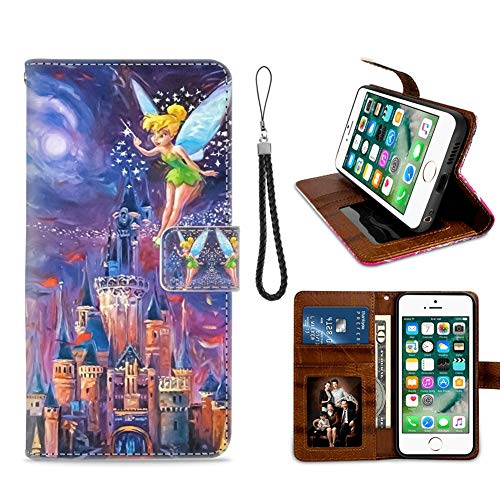 for iPhone 7 Plus, iPhone 8 Plus Wallet Case Tinkerbell at Cinderella Castle Flip Leather Case with Kickstand PU Leather Stand Folio Cover Case for iPhone 7/8 Plus