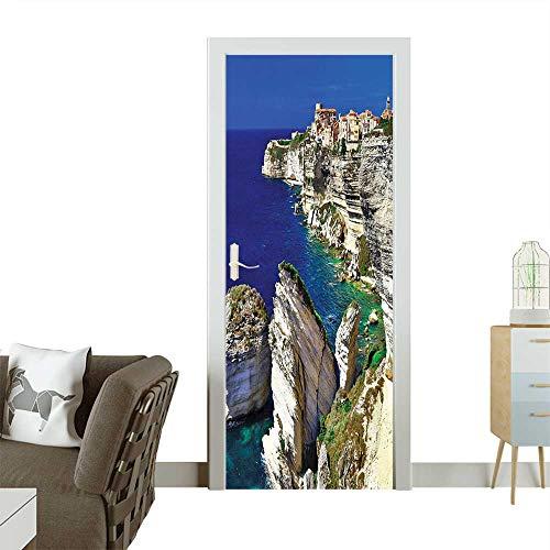- Homesonne Waterproof Decoration Door DecalsBinifacio Town in Rocks Corsica Coastline Cliff Clear Ocean Summer Seascape Panorama Nacy Perfect ornamentW38.5 x H79 INCH