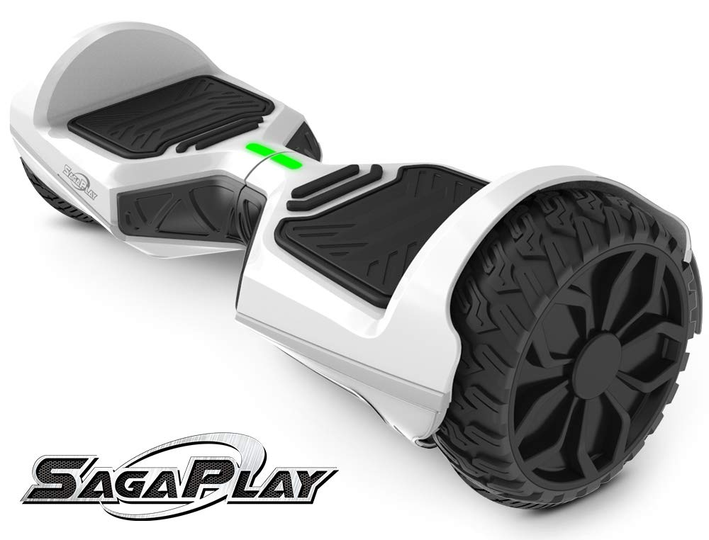 SagaPlay Self Balancing Scooter Hover Self-Balance Board w/Wireless Speakers - UL2272 Certified, 220W Dual-Motor, 6.5'' Electric Powered Board Hover [F1 Series, White (WT46)]