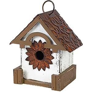 Carson Home Accents White Tin Floral Birdhouse
