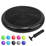 Trideer Inflated Stability Wobble Cushion with Pump, Flexible Seating Classroom, Extra Thick Core Balance Disc, Wiggle Seat for Sensory Kids (Office & Home & School) (34cm New Black)