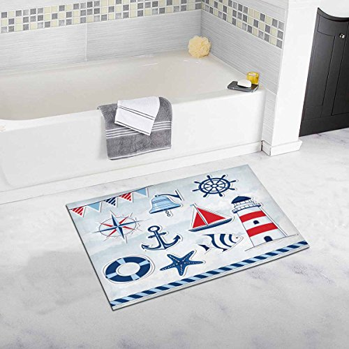 InterestPrint Nautical Design Elements Anchor, Starfish, Wheel, Boat, Fish, Rope, Bell, Lifebuoy, Lighthouse, Flag, Compass Bath Rug Non-slip Bathroom Mat 20 W X 32 L Inches -