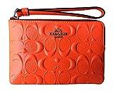 Coach Signature Debossed Patent Leather Corner Zip Wristlet (Neon Orange)