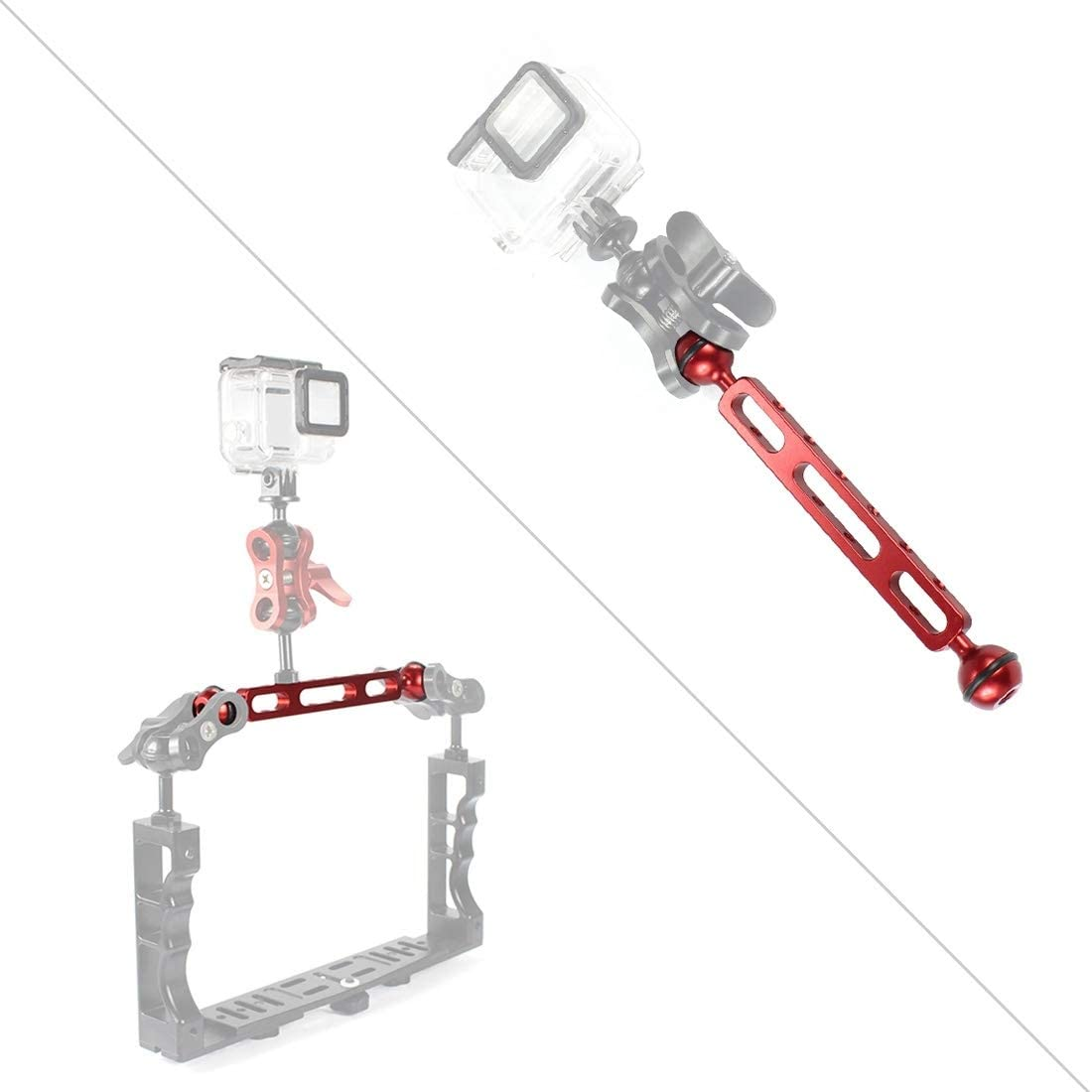 Black MEETBM ZIMO,7.87 inch 20cm Aluminum Alloy Dual Balls Arm for Underwater Torch//Video Light Ball Diameter: 2.54cm Color : Red