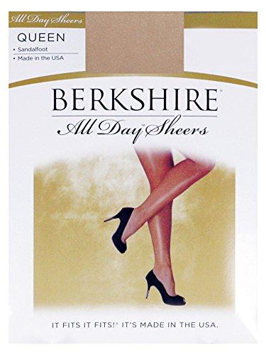 Berkshire Queen All Day Sheer Non-Control Top Pantyhose - Sandalfoot, Nude, Queen Petite (Womens Nude Opaque Pantyhose)