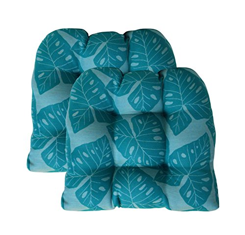 RSH Decor Sunbrella Radiant Lagoon Large 2 Piece Wicker Chair Cushion Set - Indoor/Outdoor 2 Matching Wicker Chair Cushions - Teal Turquoise Blue Green Tropical Leaf Design
