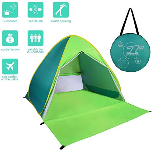FLYTON Pop Up Beach Tent Shade Sun Shelter UV Protection Canopy Cabana 2-3 Person for Adults Baby Kids Outdoor Activities Camping Fishing Hiking Picnic Touring (Green)