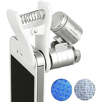 Beileshi 60x Zoom Microscope Magnifier LED + Uv Light Clip-on Micro Lens for Universal Mobile Phones Universal Clamp for Iphone 7s Plus/7s/7/7plus/ 6 6s 6Plus/ 5 Samsun / HTC