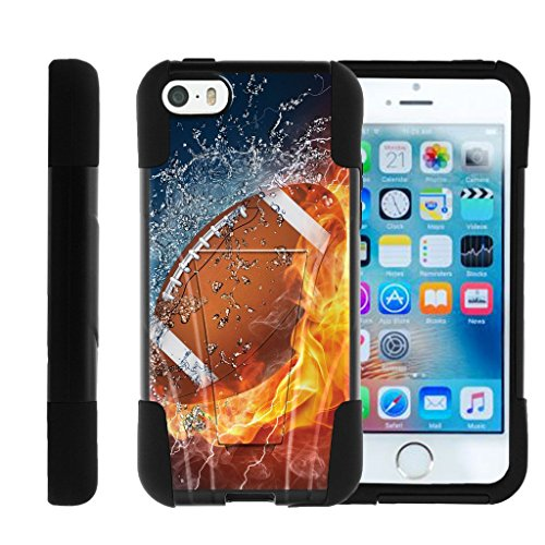 MINITURTLE Case Compatible w/Apple iPhone SE case, iPhone 5 Case, iPhone 5s Cover Durable Hybrid Gel Strike Impact Cover W/Stand case USA Football Collection Water and Fire Ball