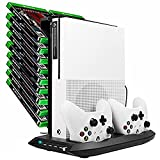 DACCKIT Xbox One S Vertical Stand Cooling Fan with Game Discs Storage Tower Mounts & Controller Charging Station