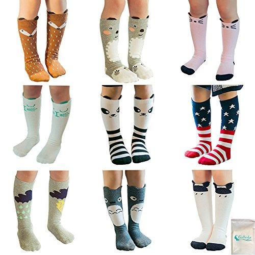 Gellwhu Baby Girls Boys Cotton Animal Cartoon Knee High Socks Stockings 9 Pairs (M(1-3 Year), Set (Animal Boy)