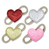 Sparkly Hearts on Nylon Headbands - For Newborn and Babies By Zelda Matilda - 4 Pack