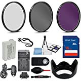 58mm 10 Piece Accessory Kit for Canon EOS Rebel T5i, T4i, T3i, 650D, 700D DSLRs with Replaceable LP-E8 Battery, 16GB SD Memory, HD Filters, Travel Charger & More