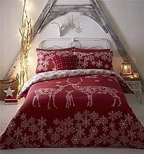 Navidad Invierno Reno Copos De Nieve Rojo Mezcla Algodón Funda Edredón Individual