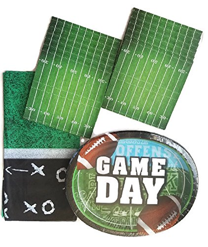Football Paper Plate Bundle of 3 Includes Extra Large Plates, Luncheon Napkins and a Tablecloth - Service for 16