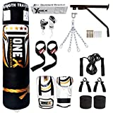 Heavy Filled 17 Piece 5ft Boxing Punch Bag Set Gloves Bracket Chains MMA Pad
