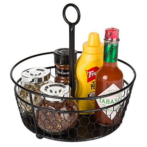 MyGift 9-Inch Metal Chicken-Wire Tabletop Condiment Caddy