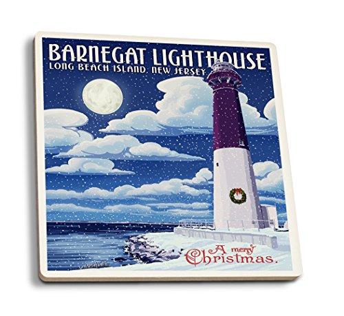 Lantern Press Long Beach Island, New Jersey - Barnegat Lighthouse Christmas Scene (Set of 4 Ceramic Coasters - Cork-Backed, Absorbent) ()