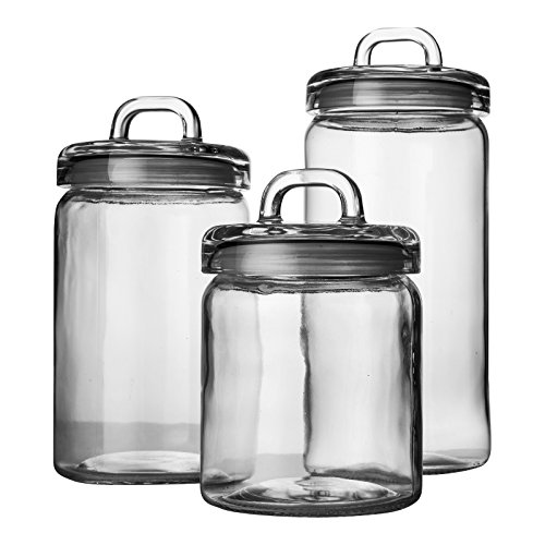 clear glass canisters for kitchen set of 3 clear glass canister jars with tight lids and 23312