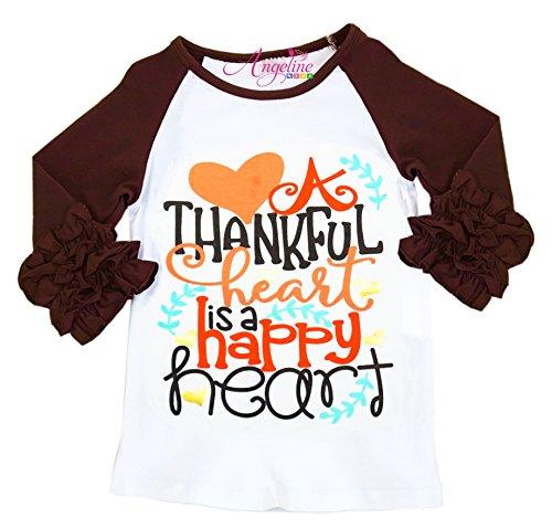 Angeline Toddler Little Girls Boutique Thanksgiving A Thankful Heart is A Happy Heart Raglan T-Shirt 5/XL]()