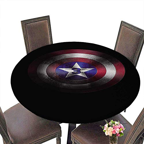 PINAFORE Round Polyester Tablecloth Table Cover Shield of Captain America Marvel cine ographic Universe for Most Home Decor 67