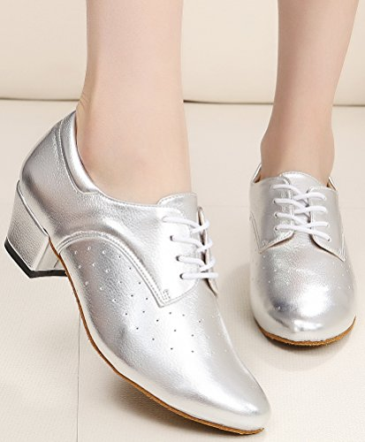 CFP JJ-7010 Womens Practice Beginner Sneaker Block Heel Round-toe Leather Dance-shoes Silvery l9DozjD