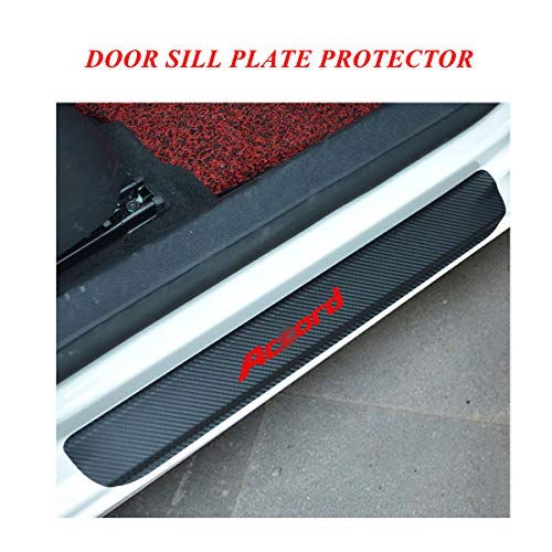 Door Sill Entry Guards Protector Stickers for car, Door Sill Protector Covers with Accord Logo, Universal Vinyl Car Door Sill Scuff Plate Protector Pedals for car, Door Sill Guards for Honda Red