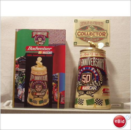 1997 Rare Budweiser Nascar 50th Anniversary Stein 1948-1998 CS360