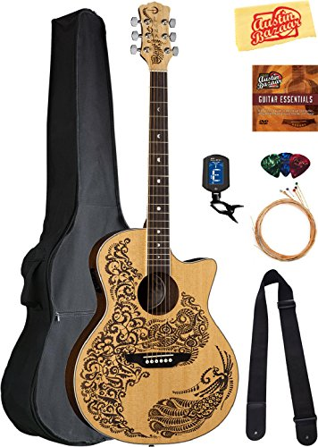 - Luna Henna Paradise Select Spruce Acoustic-Electric Guitar Bundle with Gig Bag, Strap, Strings, Tuner, Picks, Austin Bazaar Instructional DVD, and Polishing Cloth