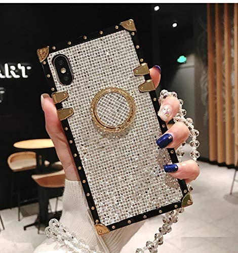 for iPhone XR Glitter Case,ZBCLV Luxury Bling Glitter Sparkle Cute Gold Square Corner Soft TPU Trunk Phone Hold Cover with Crystal Strap for Man Women Girl,Silver