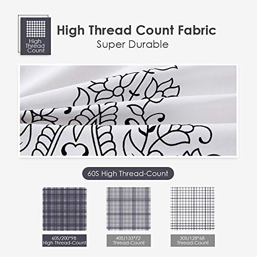 Agedate 4 Piece Brushed Microfiber Bed Sheets Set, Deep Pocket Bed Sheets Queen, Hypoallergenic, Easy to care, Fade, Stain and Wrinkle Resistant, Queen Size, White and Black Paisley Patterned