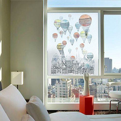 YL Stained Glass Decorative Window Film, Premium Static Cling No-Glue Stained Glass Decorative Window Film, Vinyl Scrub Privacy Window Film (60X90CM, Hot air balloon) (Hot Glass Air Balloon)