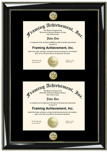 Double Certificate Frame with Three Gold Seal Insignia Medallion ...