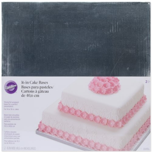 Wilton Silver Foiled 16-Inch Wrapped Bases for Cakes, 2 Count (Cake Silver Basket)
