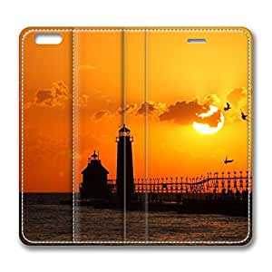 iPhone 6 4.7inch Leather Case, Lighthouse At Sunset Personalized Protective Slim Fit Skin Cover For Iphone 6 [Stand Feature] Flip Case Cover for New iPhone 6 wangjiang maoyi