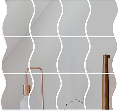 1 x Stickers Effet Miroir Décoration Murale Autocollant Carré Adhésif Argenté