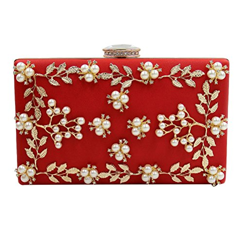 Zhhlinyuan Bolsos de alta calidad Women's Popular Rhinestones Small Bags Handbags Designer Bead Flowers Pearl Evening Shoulder Bags Womens Gifts Red