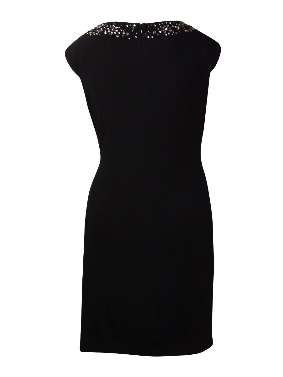 Betsy & Adam Women's Beaded V-Neck Ruched Jersey Dress (16W, Black) by Betsy & Adam (Image #2)
