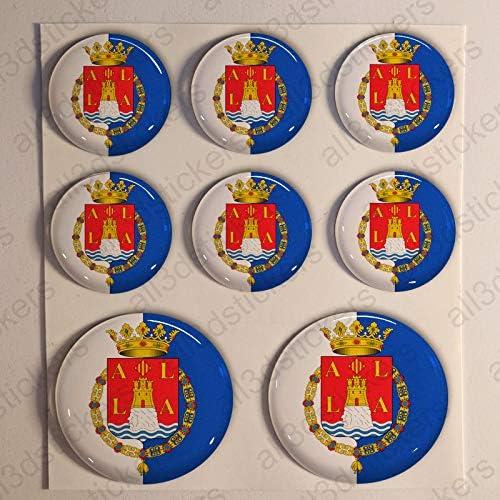 Pegatinas Bandera Alicante Redondas 8 x Pegatina Alicante Resina Relieve 3D Adhesivo Vinilo: Amazon.es: Coche y moto
