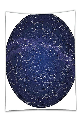 Interestlee Satin drill Tablecloth?Constellation High Detailed Sky Map of Northern Hemisphere with Names of Stars Blue Cream Violet Blue Dining Room Kitchen Rectangular Table Cover Home Decor